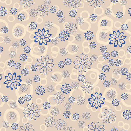 Dotted Floral Lace Vector Seamless Illustration. Pastel Repeat Pattern