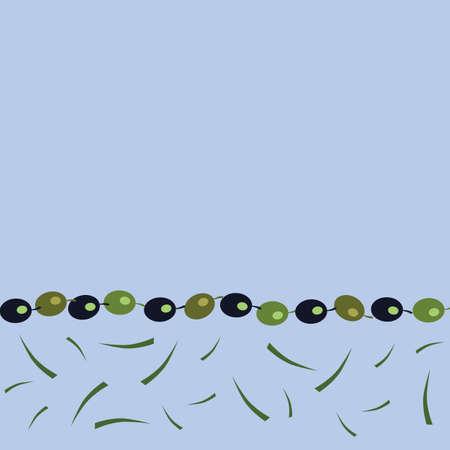Greek Green Blue Olives Border Design Vector Illustration