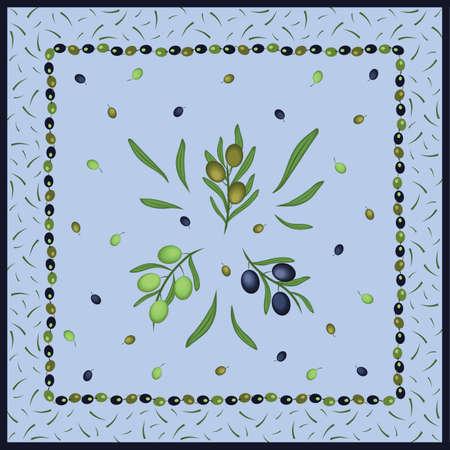 Greek Green Olives Scarf Design Vector Illustration
