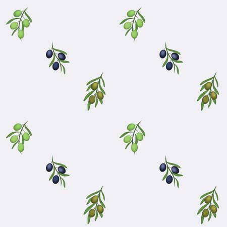 Greek Green, Blue Olive Brunches Repeat Vector Design Illustration