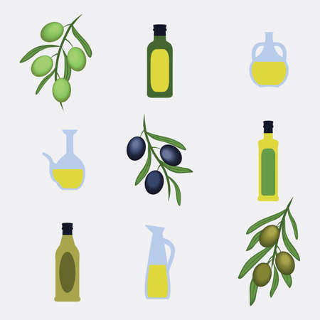 vector Greek Style bottles, jars, olive leaves on grey background Illustration