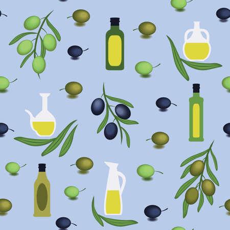 Greek Style bottles, jars, olive branches on blue background