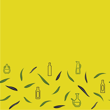 Greek Style bottles, jars, olive leaves on yellow background Illustration