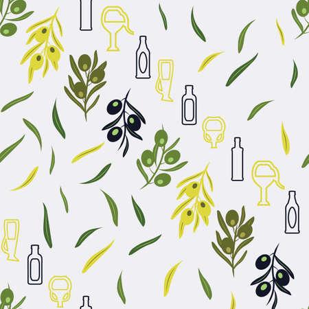 Greek Style bottles, jars, olive leaves on grey background