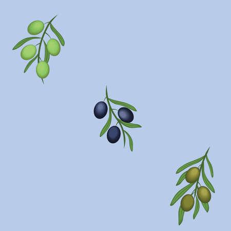 Greek Olive branches on grey blue background Illustration