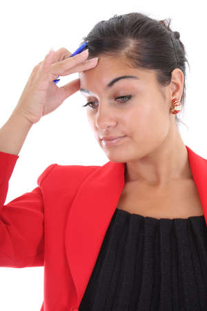 stressed young bussinesswoman in red jacket with pen photo