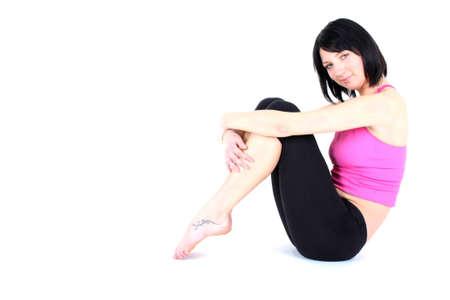 young woman doing aerobics photo