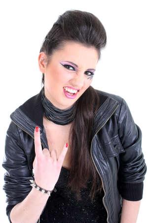 rocker girl: Ni�a hermosa en la chaqueta de cuero negro