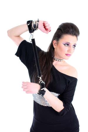 Young beautiful girl in black dress photo