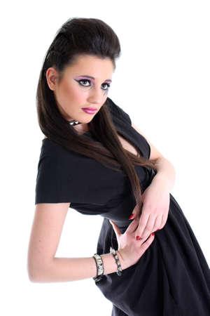Young beautiful girl in black photo