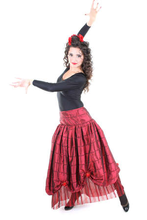spanish dancer: attractive spanish dancer in red skirt Stock Photo