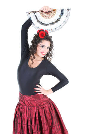 gipsy: young attractive woman with fan Stock Photo