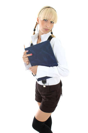 blondie schoolgirl with blue book Stock Photo - 7631599
