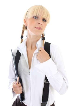 portrait of attractive schoolgirl in school form Stock Photo - 7633029