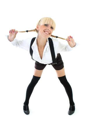 blondie schoolgirl with plaits photo