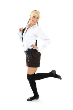blondie teenage girl in school form Stock Photo - 7626597