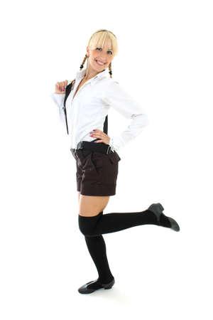 blondie teenage girl in school form Stock Photo - 7626597