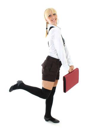 blondie teenage girl in school form with folder Stock Photo - 7626602
