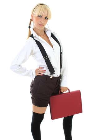 blondie teenage girl in school form with folder Stock Photo - 7631678