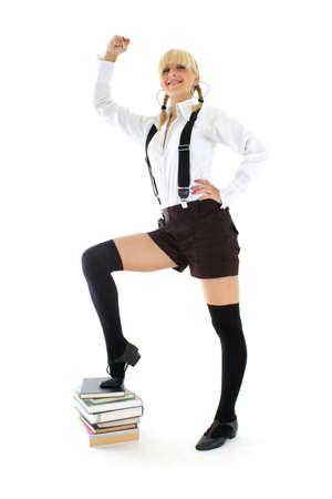 successful teenage girl with books Stock Photo - 7626590