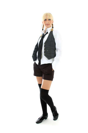 attractive teenage girl in school form photo