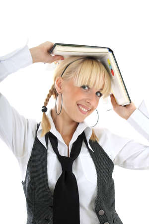 portrait of funny schoolgirl with book Stock Photo - 7632035