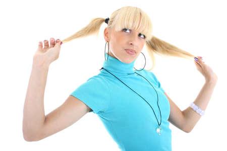 funny girl in blue Stock Photo - 7632991