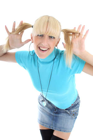 funny girl in blue t-shirt Stock Photo - 7631797