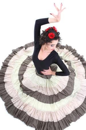 young attractive woman in long skirt dancing Фото со стока