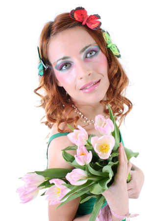 Red-haired woman with tulips and butterflies on her head Stock Photo - 7667158