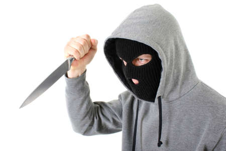 Bandit in black mask with knife Stock Photo - 7667128