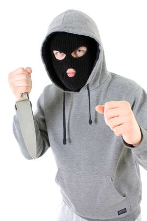 Gangster in black mask with knife Stock Photo - 7666587
