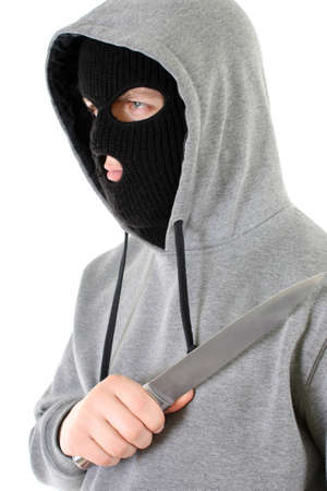 Gangster in black mask with knife Stock Photo - 7667199