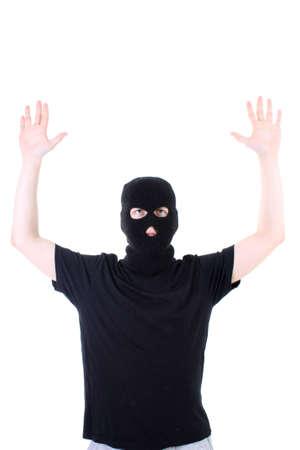 The surrendered criminal in black photo