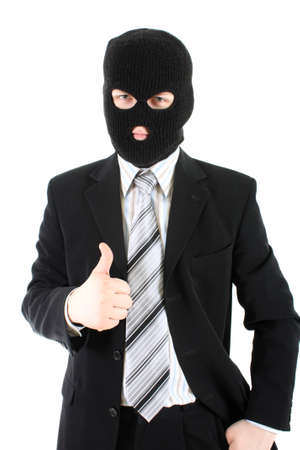 larceny: businessman in black mask doing thumb up