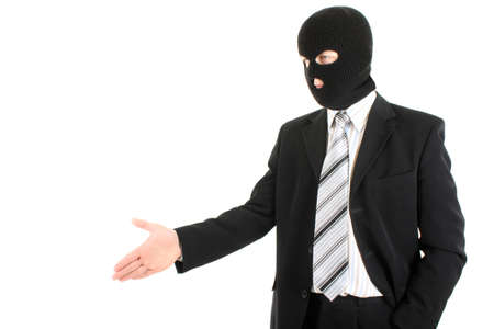 businessman in black mask