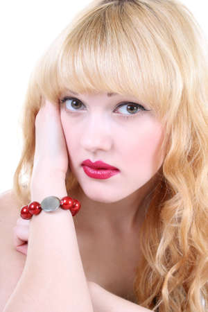 constraining: young woman with red lips and curly hair