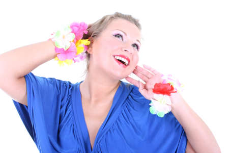 Beautiful young woman laughing over white background photo