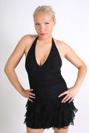 young blondie woman in black dress over white