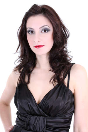 brunette with red lips and smoky eyes