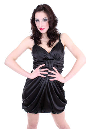 brunette with red lips and smoky eyes in black dress Archivio Fotografico