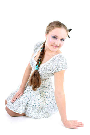 sundress: Young beautiful girl in sundress with plait