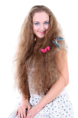 sundress: beautiful girl in sundress with butterflies