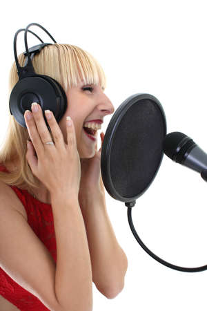 attractive woman singing over white Stock Photo - 7859514