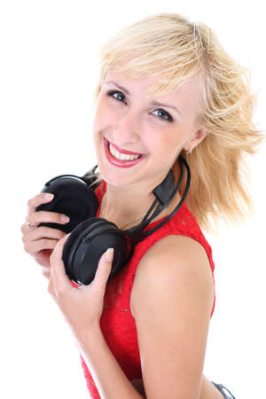 young beautiful woman with headphones smiling photo