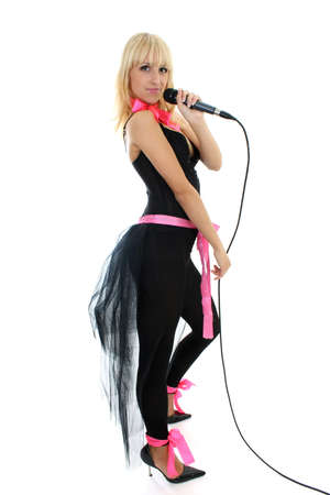 female singer with microphone over white photo