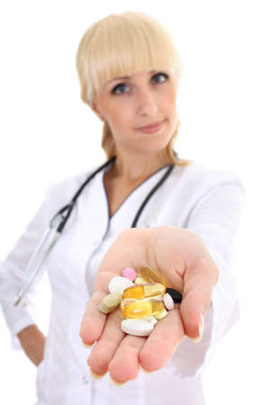 young doctor woman in medical gown with tablets in her hand Stock Photo - 7859425