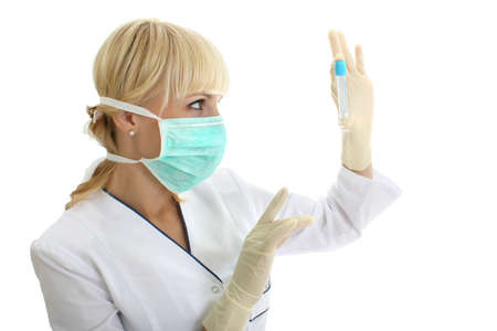 nurse gloves: doctor woman in mask with test-tube