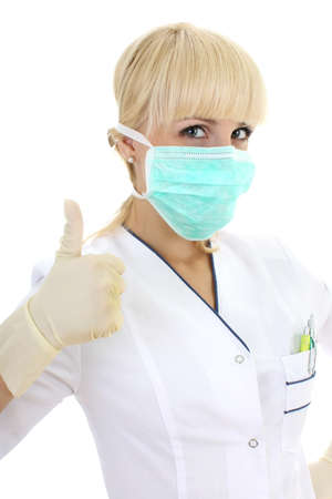 nurse gloves: surgeon woman in mask giving a thumbs up over white