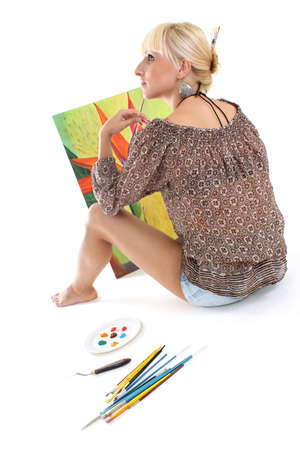 blondie woman painter dreaming Stock Photo - 7859653